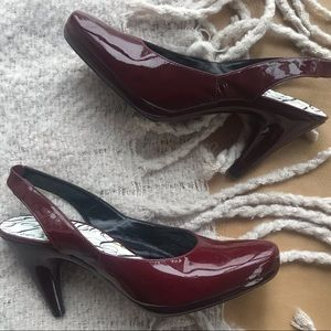 Robert Clergerie maroon patent leather sling backs